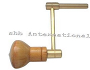 Brass Crank Clock Key Winder With Wooden Handle.