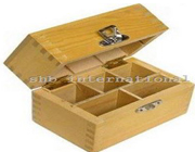 Wood Box Safe Storing Gold Test Kit Holds 3 Testing Compartments