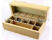 Wood Box Storing Safely Gold Test Kit Holds 8 Compartments